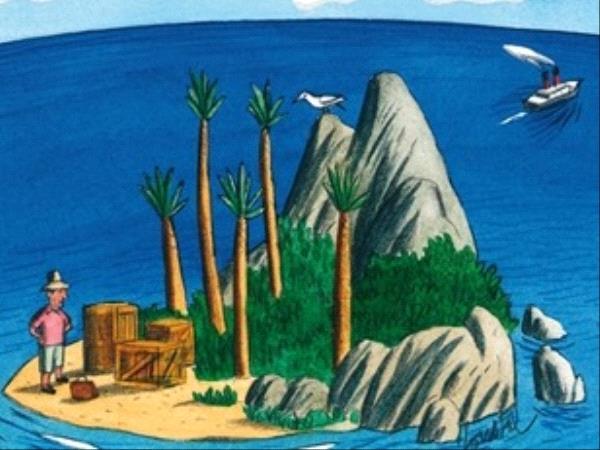 Peinture d'une île au milieu de l'océan, un homme s'y trouve avec sa valise, un bateau au loin
