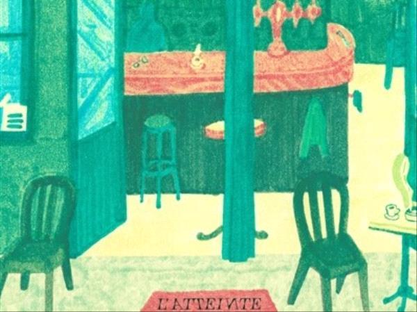 tous au café des écrivains, tableau peinture representant l'intérieur d'un café dans les tons verts