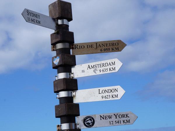 poteau en bois avec pancartes donnant directions vers grandes capitales du monde