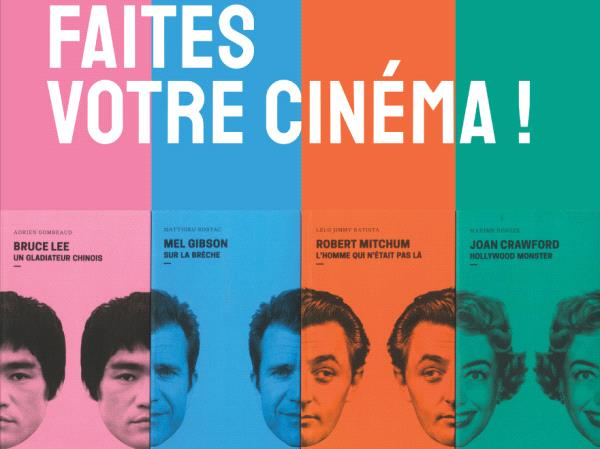 Affiche de 4 visages coupés en deux par des couleurs différentes et mélangés entre eux