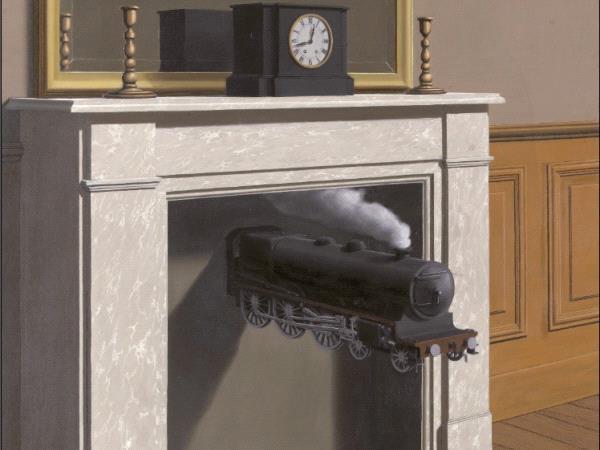 Une peinture représentant un miroir posé sur une cheminée, un train sort de l'âtre