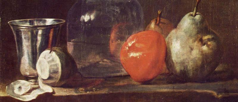 Chardin,  Nature morte avec carafe et fruits (1750), Karlsruhe, Staatliche Kunsthalle.