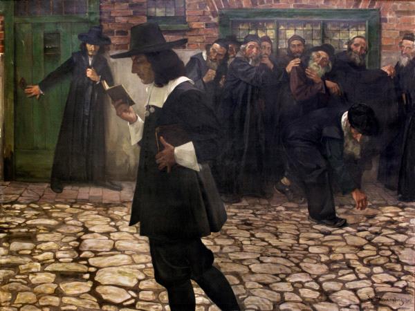 Tableau représentant un homme en costume espagnol marchant un livre à la main dans la rue, les passants le regard avec horreur