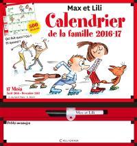 Max et Lili : calendrier de la famille 2016-2017