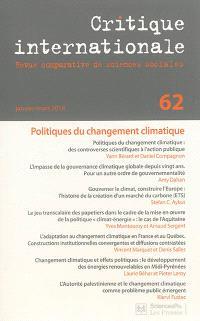 Critique internationale. n° 62, Politiques du changement climatique