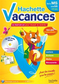 Hachette vacances, de la MS à la GS, 4-5 ans : le tout-en-un pour réussir la rentrée !