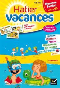 Hatier vacances, moyenne section vers la GS, 4-5 ans : les aventures d'Alisée et Corentin