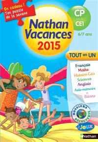 Nathan vacances 2015, du CP vers le CE1, 6-7 ans : tout en un