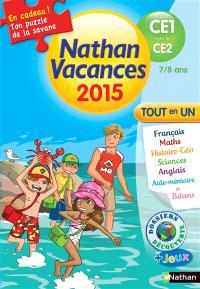 Nathan vacances 2015, du CE1 au CE2, 7-8 ans : tout en un