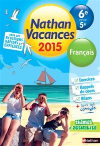 Nathan vacances 2015, de la 6e vers la 5e : français