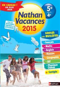 Nathan vacances 2015, de la 5e vers la 4e : toutes les matières