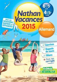 Nathan vacances 2015, 6e-5e LV1, 4e-3e LV2 : allemand