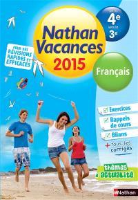 Nathan vacances 2015, de la 4e vers la 3e : français