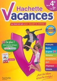 Hachette vacances, de la 4e à la 3e, 13-14 ans : le tout-en-un pour réussir la rentrée !