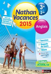 Nathan vacances 2015, de la 3e vers la 2de : anglais