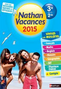Nathan vacances 2015, de la 3e vers la 2de : toutes les matières
