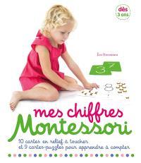 Mes chiffres Montessori : 10 cartes en relief à toucher et 9 cartes-puzzles pour apprendre à compter : dès 3 ans