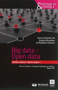 Big data, open data : quelles valeurs ? quels enjeux ? : actes du colloque Document numérique et société, Rabat, 2015