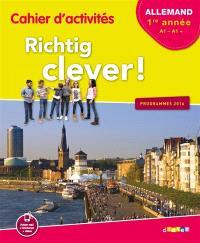 Richtig clever ! allemand LV2, 1re année, A1-A1 + : cahier d'activités : programmes 2016