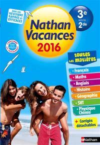 Nathan vacances 2016, de la 3e vers la 2de : toutes les matières