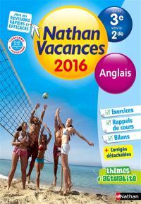 Nathan vacances 2016, de la 3e vers la 2de : anglais