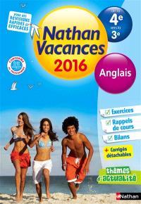 Nathan vacances 2016, de la 4e vers la 3e : anglais