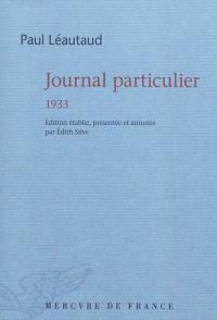 Journal particulier, 1933