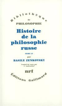 Histoire de la philosophie russe. Volume 1