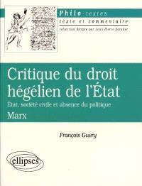 Critique du droit hégélien de l'État (État, société civile et absence de politique), Marx