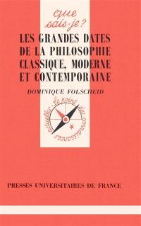 Les grandes dates de la philosophie classique, moderne et contemporaine