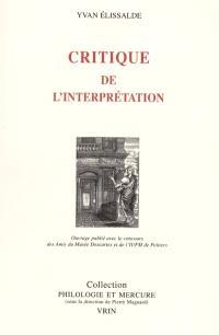 Critique de l'interprétation