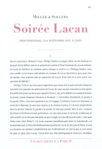 Soirée Lacan