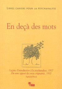 Libres cahiers pour la psychanalyse. n° 27, En deçà des mots