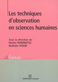 Les techniques d'observation en sciences humaines