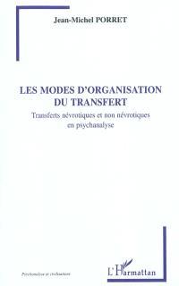Les modes d'organisation du transfert : transferts névrotiques et non névrotiques en psychanalyse
