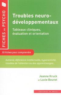 Troubles neuro-développementaux : tableaux cliniques, évaluation et orientation : 10 fiches pour comprendre : autisme, déficience intellectuelle, hyperactivité, troubles de l'attention ou des apprentissages...