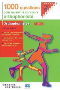 1.000 questions pour réussir le concours orthophoniste