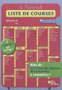 Liste de courses Mémoniak : bloc de 52 listes de courses détachables à compléter ! : à aimanter sur le frigo !