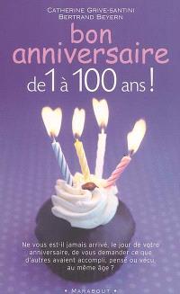Bon anniversaire de 1 à 100 ans : ne vous est-il jamais arrivé, le jour de votre anniversaire, de vous demander ce que d'autres avaient accompli, pensé ou vécu, au même âge ?