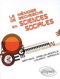 Le mémoire de recherche en sciences sociales