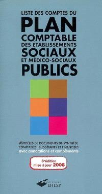 Liste des comptes du plan comptable des établissements sociaux et médico-sociaux publics : modèles de documents de synthèse comptables, budgétaires et financiers : avec annotations et compléments