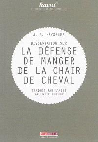 Dissertation sur la défense de manger de la chair de cheval