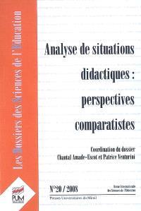 Dossiers des sciences de l'éducation (Les). n° 20, Analyse de situations didactiques : perspectives comparatistes