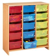 Grand meuble à 15 bacs multicolores