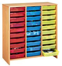Grand meuble à 30 bacs multicolores