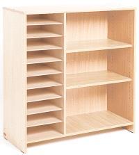 Grand meuble à cases et à étagères, bouleau