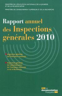 Rapport annuel des inspections générales 2010