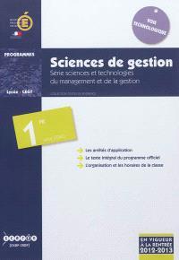Sciences de gestion, série sciences et technologies du management et de la gestion : classe de première de la série STMG : applicable à la rentrée de l'année scolaire 2012-2013