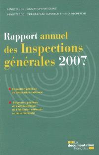 Rapport annuel des inspections générales 2007