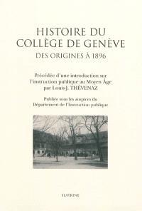 Histoire du Collège de Genève : des origines à 1896